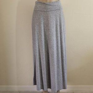 Heathered Gray Roll Waistband Maxi Skirt